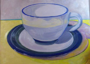 "Another Cup, Another Story Oil on Canvas 30"" x 40"" $300"