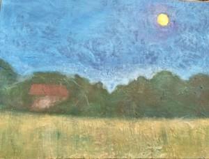 """Dillon County Moonrise Acrylic Mixed Media 18"""" x 24""""  $500"""
