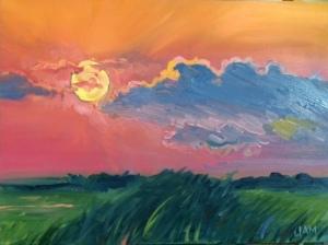 """Sunset on Sunset Beach Oil on Canvas 16"""" x 24"""" (?) $400"""