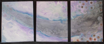 "TRIPTYCH 2 Acrylic and mixed media 18"" x 12""  (36"" total length) $500"