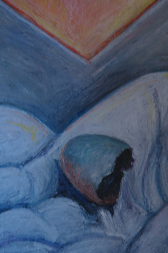 detail egg in hand drawing