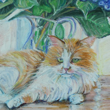 "Detail from ""Bigelow Cat"" Oil Pastel on Paper"